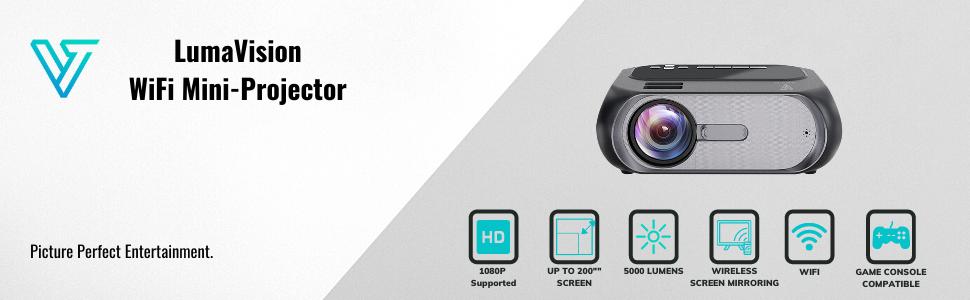 Mini projector wifi smart home entertainment video verratek lumavision hd 720p native supported