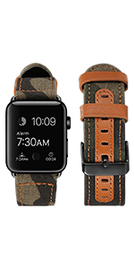 canvas leather bands compatible with apple watch bands 42mm 38mm