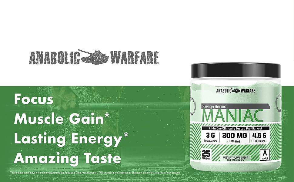 Maniac Anabolic Warfare Pre Workout Muscle Gain Lasting Energy Amazing Taste