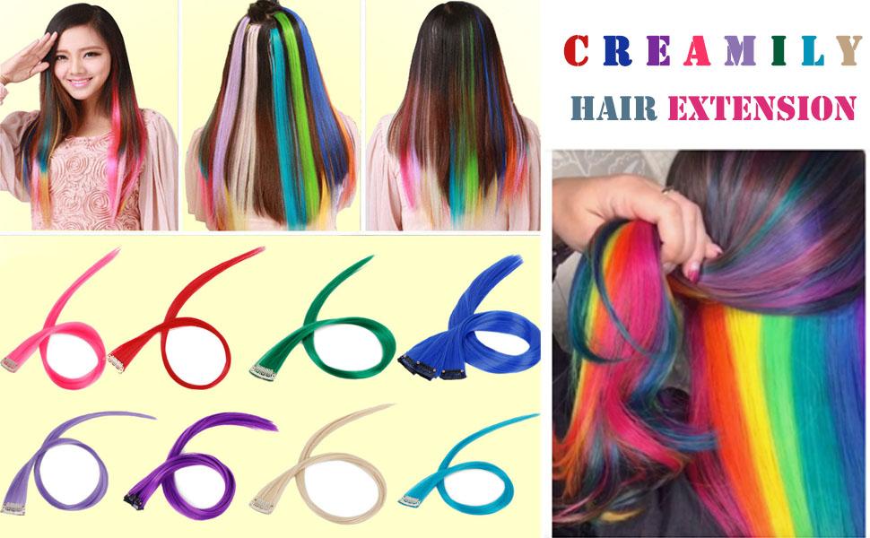 Creamily Extensión de cabello con clip de 20 pulgadas, recta, morado claro, para fiestas, extensión de cabello sintético (6 piezas/paquete)