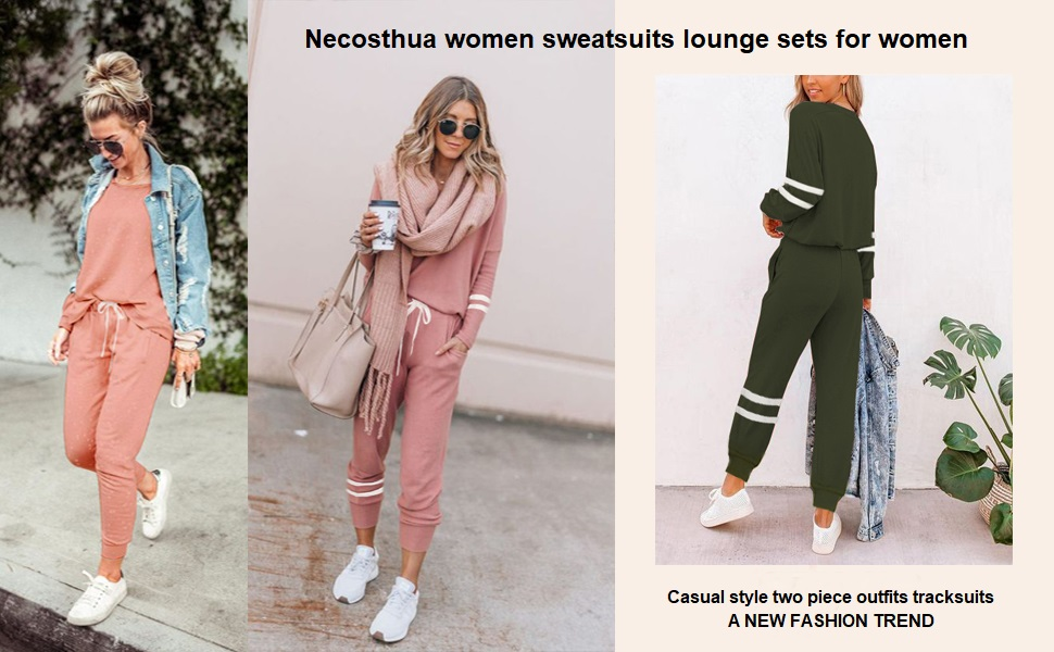 Lounge Sets for Women Sweatsuits Sets Two Piece Outfit Long Sleeve Pant Workout Athletic Tracksuits