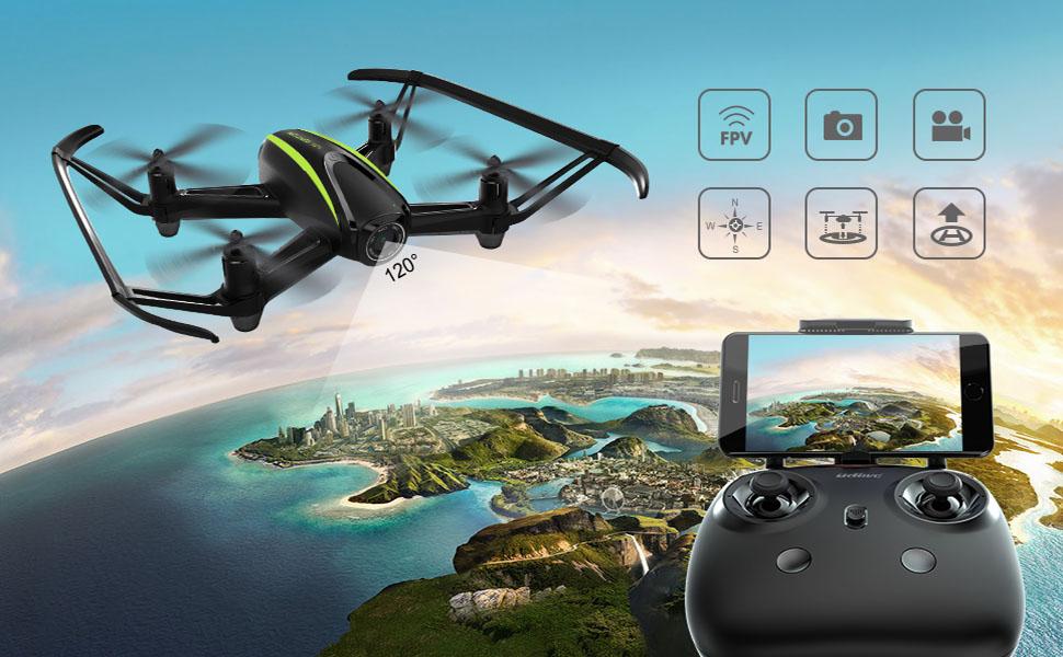 Potensic Drone con cámara 720P HD, RC Quadcopter RTF Altitude Hold, Avión con Control Remoto, Modo sin Cabeza WiFi FPV 2.4Ghz, Aterrizaje y Despegue y ...