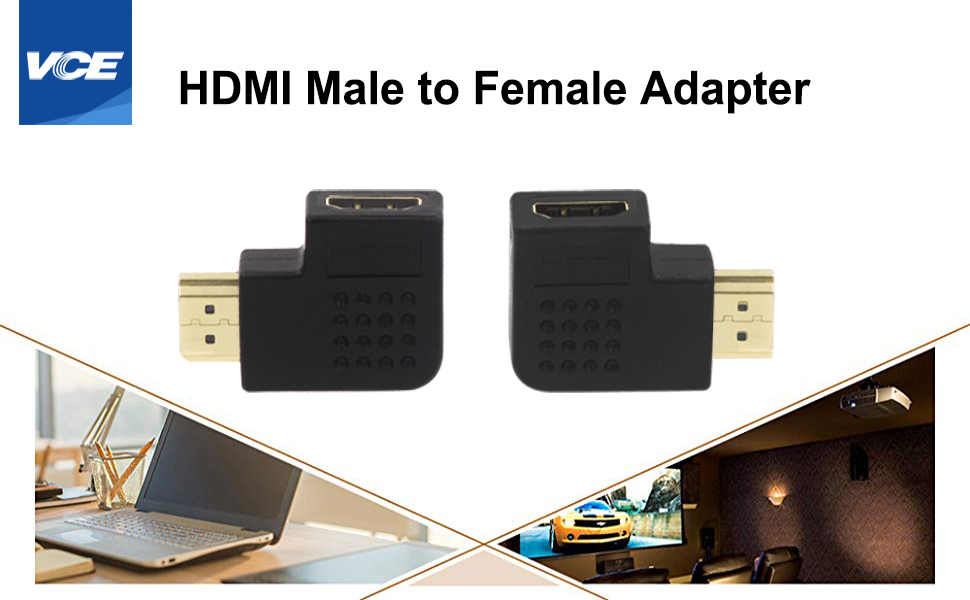 HDMI Male to Female Vertical Flat Adapter