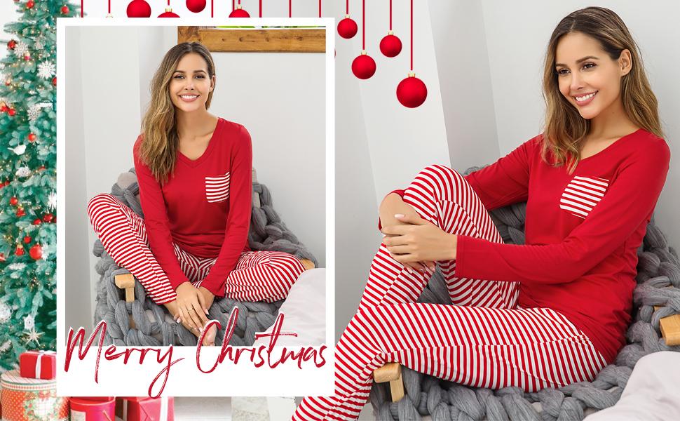 Hotouch Womens Pajama Set Striped Long Sleeve Top amp; Pants Sleepwear Pjs Sets