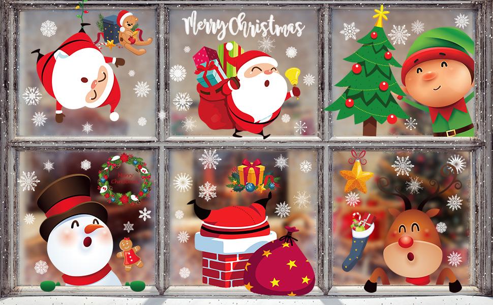 christmas cute window clings