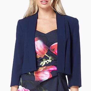 Roman Originals Femmes Texturé Manches 3//4 rouleau de poignets côtelés Blazer Jacket