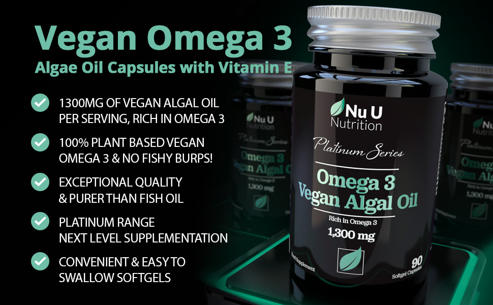 Vegan Omega 3 Rich Algae Oil Capsules with Vitamin E - 1300mg Algae Oil - Vegan  DHA from Marine Algae Oil - 90 Omega 3 Softgel Capsules - Vegan and Vegetarian  Omega
