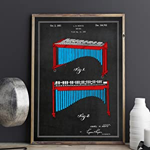 marimba mallet chalkboard patent wall print jazz band musician players music studio wall art decor