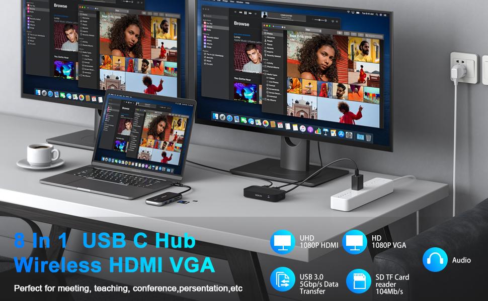 usb c hub hdmi vga macbook pro adapter