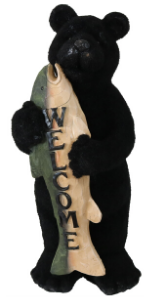 outdoor bear statue, welcome statue, outdoor welcome statue, garden statue, outside statue, bear