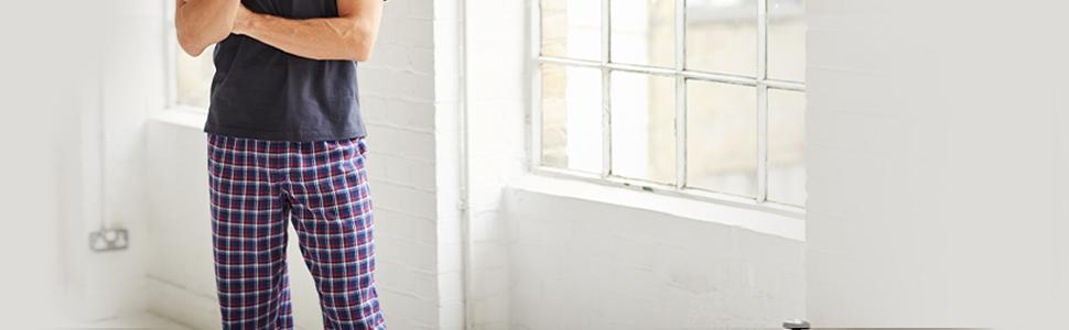 Savile-Row-Mens-Pyjama-Bottoms-100-Cotton-Soft-Trousers-Lounge-Pants