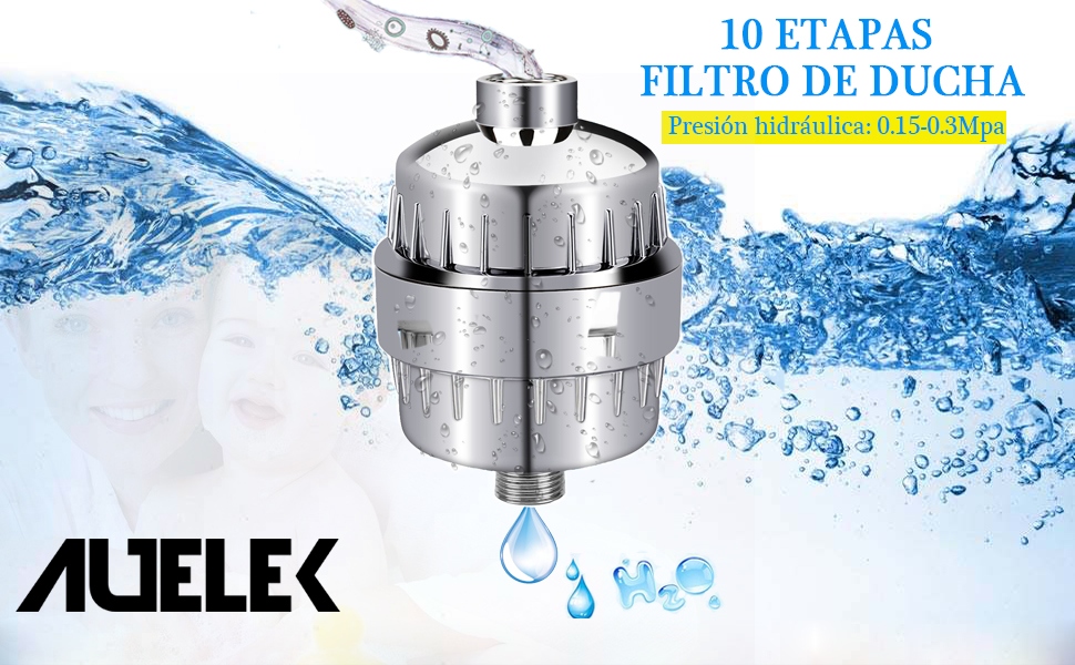 Filtro para Ducha Universal, AUELEK 10 Etapas Filtro Reemplazable ...