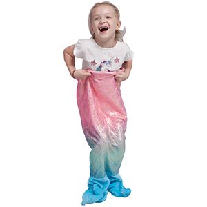 softan Manta de Cola de Sirena para niños, Tela de Franela Suave, Saco de Dormir para Todas Las Temporadas,43x99cm,Arco Iris Reluciente con Cola Azul
