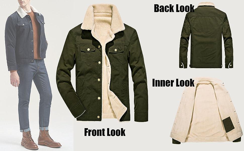 Men's Casual Sherpa Fleece Lined Jacket Warm Coat With Fur Collar
