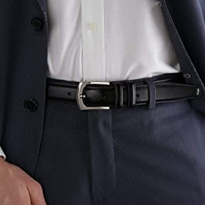 Men/'s Genuine Leather Dress Belt Classic Stitched Design 30mm /'ALL LEATHER/'