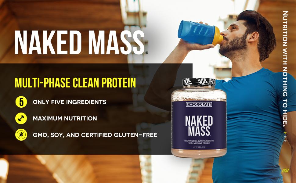 chocolate naked mass, chocolate weight gainer supplement shakes, chocolate mass gainer shakes