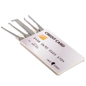 Juego de ganzúas con 20 piezas - Incluye candado transparente y tarjeta de crédito con herramientas de Lock Cowboy - Guía para principiantes y ...