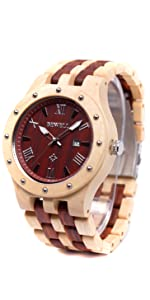 Bewell 木製腕時計 メンズ ウッドウォッチ 腕時計 カレンダー付き 夜光 天然木 クオーツウォッチ アナログ腕時計 男性用 軽量防水 (メープルと赤檀)