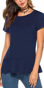 Short Sleeve Peplum Tops for Women