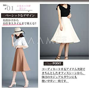 Flared Skirt, Women's Flare Skirt, Spring, Summer, Autumn, Black, Pink, White, Blue, White, Blue, Neat, Cute, Trapezoid Shape, Knee-Length, Bottoms, Office Casual, Casual, Going Out