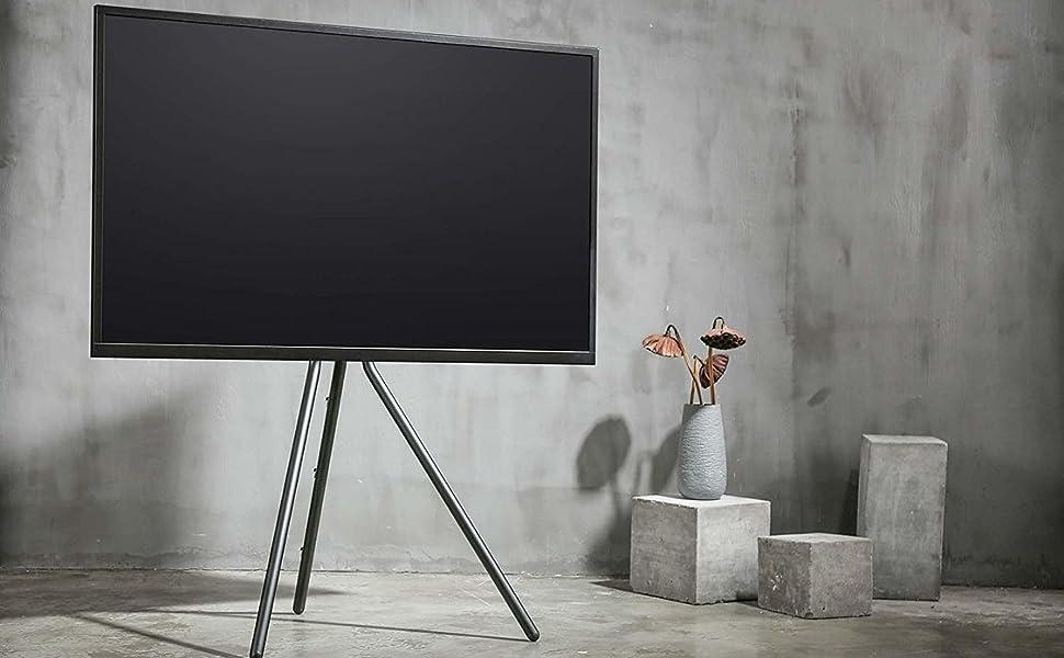 FOREST caballete trípode compacto y portátil artístico de acero negro estudio/Home TV piso soporte para TV/LCD de 49