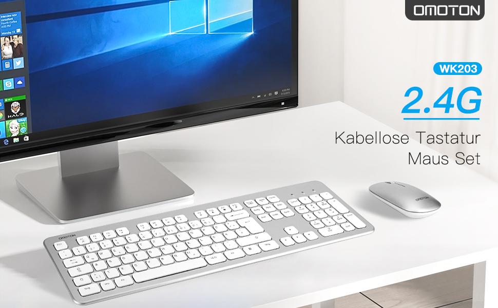 OMOTON Teclado y ratón inalámbricos, 2,4 G, teclado inalámbrico para PC/ordenador/portátil/notebook, negocios, oficina en casa, disposición alemana ...