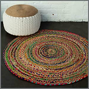 Chindi Rag rug round, made with jute and cotton rags. Bohemian, boho-chic
