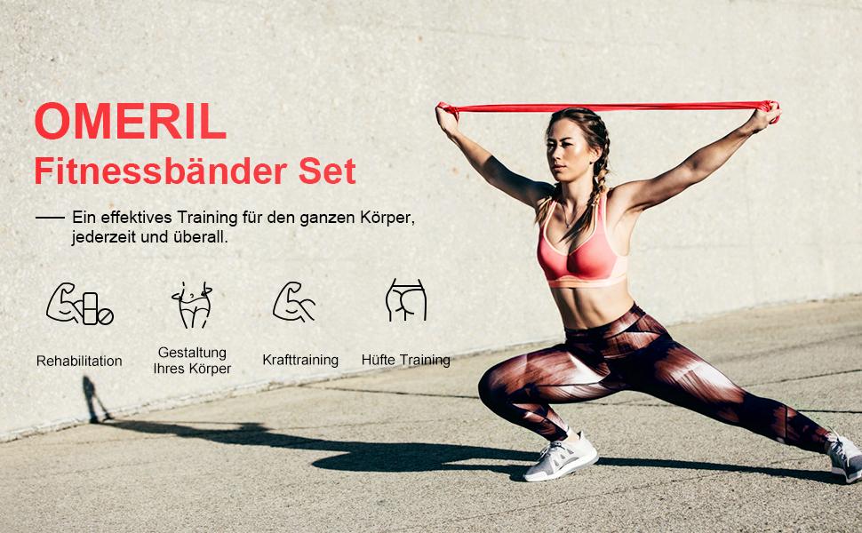 OMERIL Fitnessband 3er-Set Theraband Gymnastikband Lang