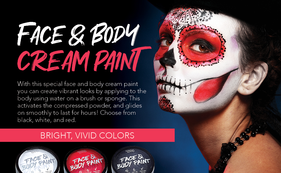 face body paint facepaint body paint black white red fun party kids Halloween teens clown color