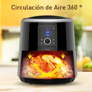 HABOR Freidora sin aceite 5.5L,Freidora de aire caliente,1800W,120 minutos función de preservación del calor, 7 programas pre-establecidos, Recetas ...