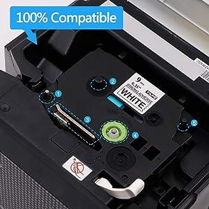 1PK TZe-S221 TZ-S221 TZS221 Black On White Label Tape For Brother PT-1010B 9MM