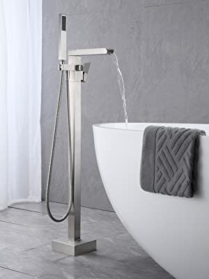 Freestanding Waterfall Bathtub Filler Brushed Nickel Floor Mount Bathroom Faucets Brass Single Handle with Hand Shower