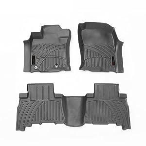 LSAUTO 3D Floor Mats TPV Floor Liner for Toyota Prado 2010-2019 Custom FitHeavy Duty All Weather Front