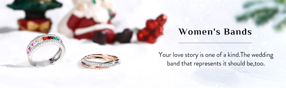 Jeulia 925 silver women wedding band rings wide shank diamonds rings with round brillant side stones