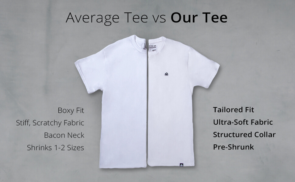 INTO THE AM men's basic tees comparison tailored fit ultra soft fabric structed collar pre shrunk