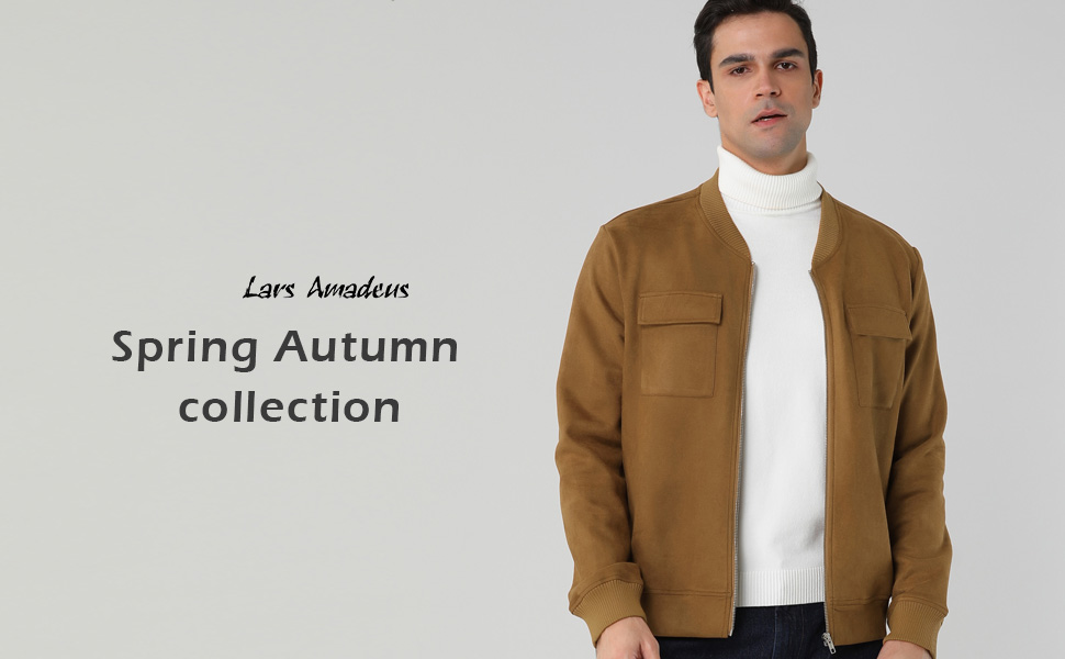 Lars Amadeus Men's Suede Jacket Zip Up Flap Pockets Faux Baseball Bomber Jackets Outerwear