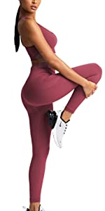 Women Yoga Outfits Seamless 2 Piece Suits Workout Gym High Waist Leggings Racerback Padded Bra