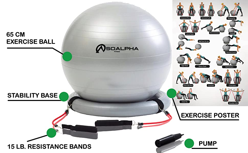 so alpha exercise ball home gym bundle