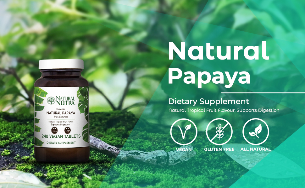 Natural Nutra Papaya Chewable Plant Enzymes for Digestion, Bloating, Gas and Constipation Relief