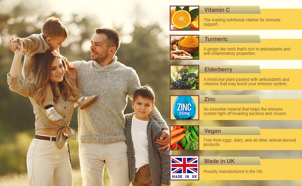 Vitamin C 1225 MG + Elderberry, Turmeric, & Zinc High Strength Boost Immune