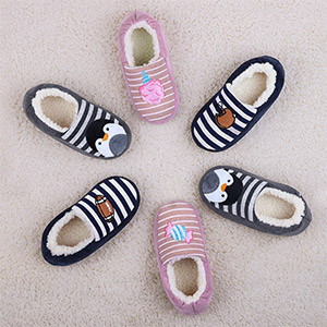 HomeTop Boys Girls Comfy Cotton Knit House Slippers Light Weight Sherpa Lined Shoes for Kids with Elastic Back