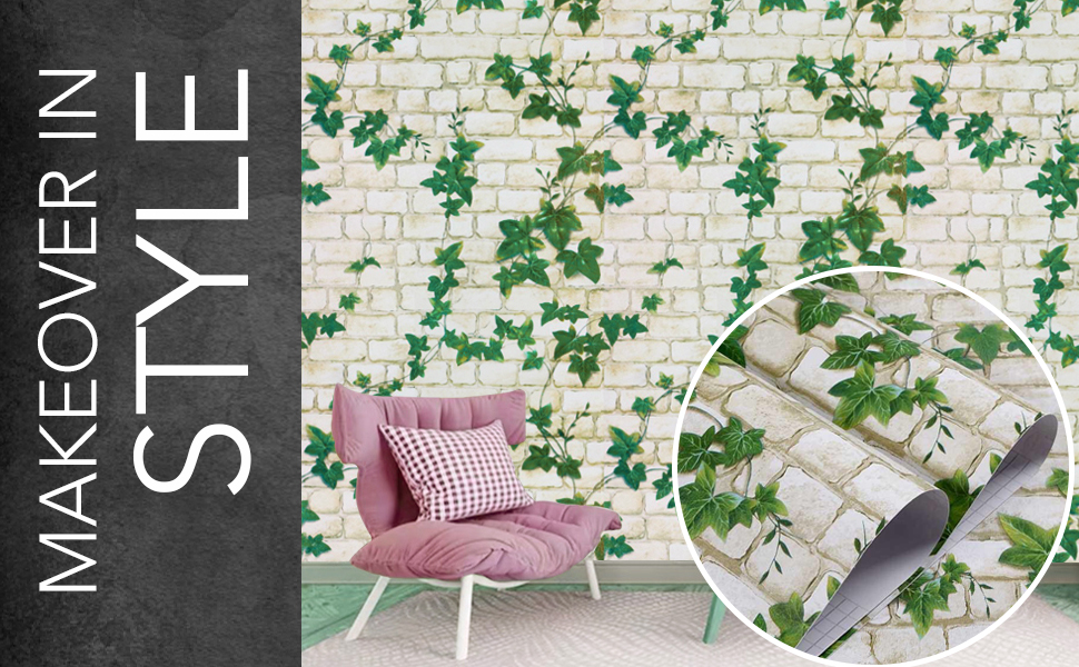 3D Brick and vine, wall stickers wallpaper for wall, self adhesive, decals