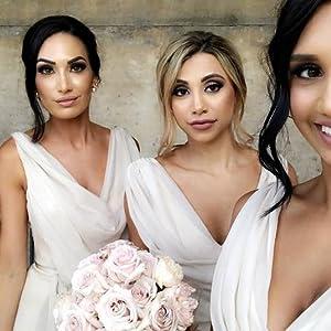 Ruched Plunge Neck Bridesmaid Dresses