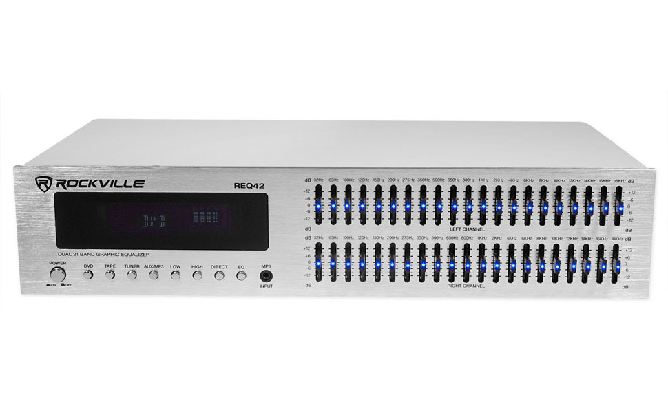 Rockville REQ42-S 2 x 21 Band Home Theater Equalizer with Audio Spectrum Analyzer