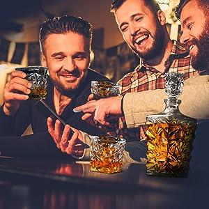 Diamond glass whiskey with friends