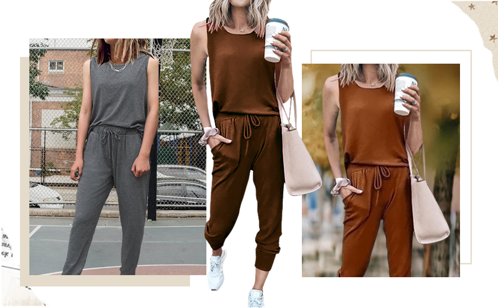 Women's Solid Color Two Piece Outfit Sleeveless Crewneck Pullover Tops And Long Pants Sweatsuits