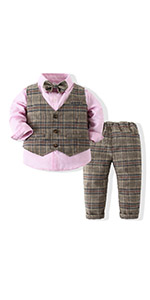 Boys 3Pcs Clothing Sets Elegant Long Sleeve Shirts Vest with Flower Pants