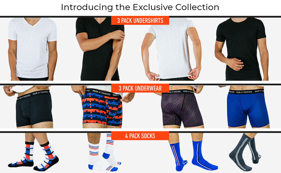 3 pack undershirts t-shirts boxer briefs trunks socks multipack 4 pack
