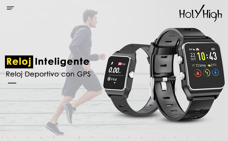 HolyHigh Reloj Inteligente Smartwatch Mujer Hombre Impermeable ...