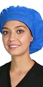 Royal Blue Banded Bouffant Style Scrub Cap